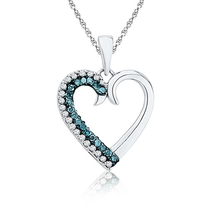 Blue & White Diamond Heart Pendant 1/6ct. T.W.