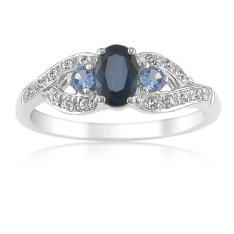 Blue Sapphire & Tanzanite Gemstone Diamond Ring in 10K White Gold