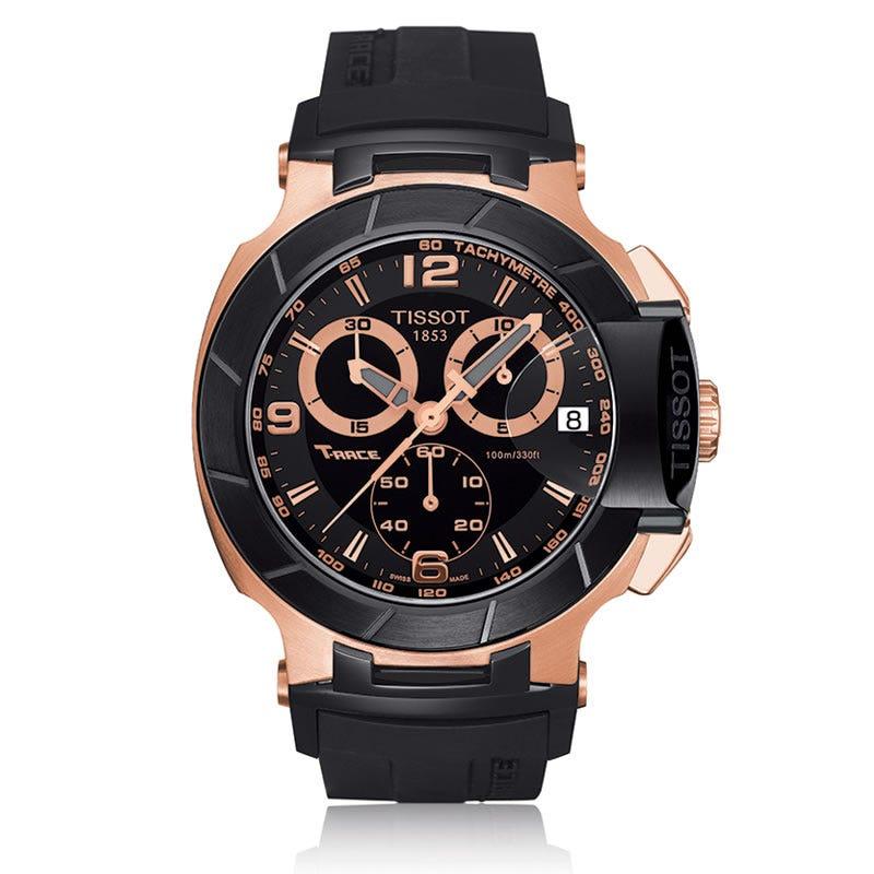 T-Race Tissot Men's Black Quartz Chronograph Watch Black Rubber Strap T0484172705706