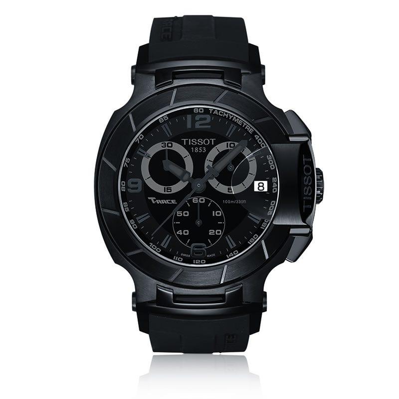 Tissot T-Race Men's Black Quartz Chronograph Sport Watch With Black Rubber Strap T0484173705700