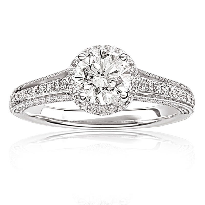 Laria. Diamond Halo Engagement Ring 1ctw. in 14k White Gold