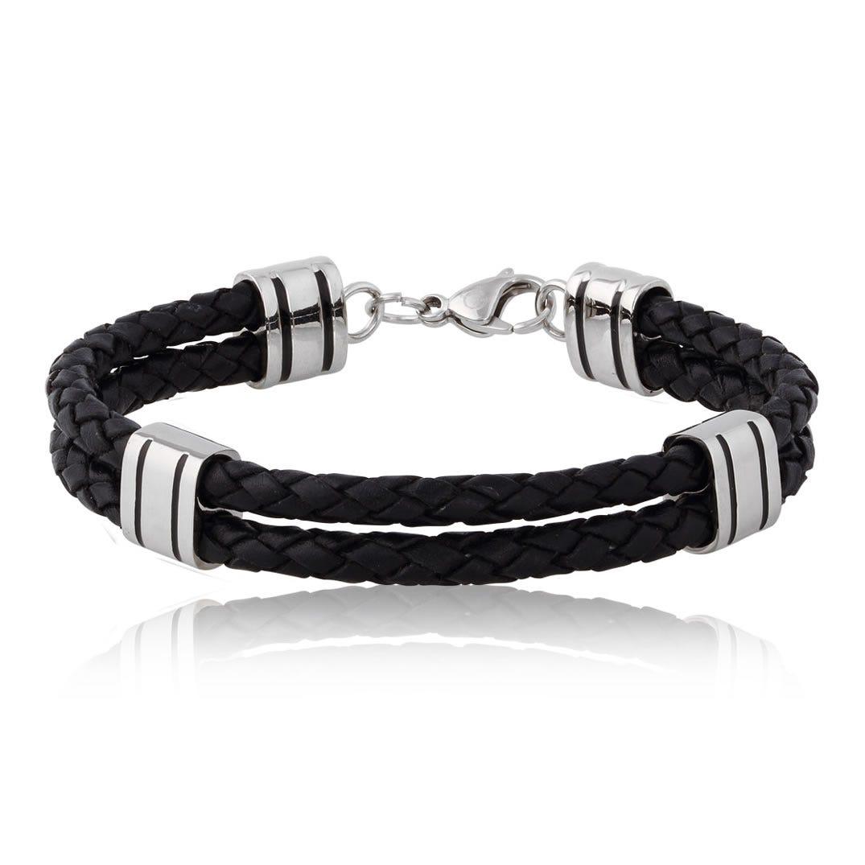Three Station Black Leather Bracelet
