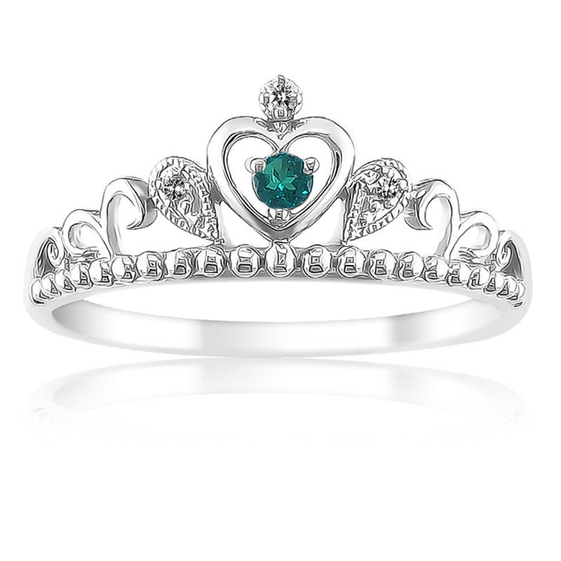 Princess Created Emerald & Diamond Tiara Ring in Sterling Silver