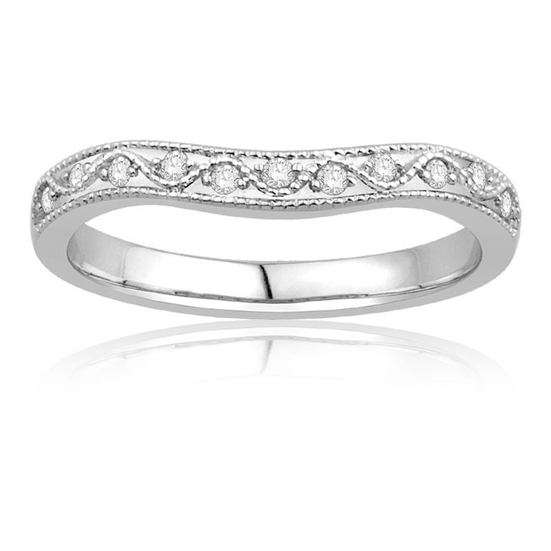 Vintage Style Diamond Contour Wedding Band