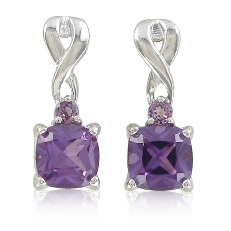 Created Alexandrite Drop Earrings in Sterling Silver