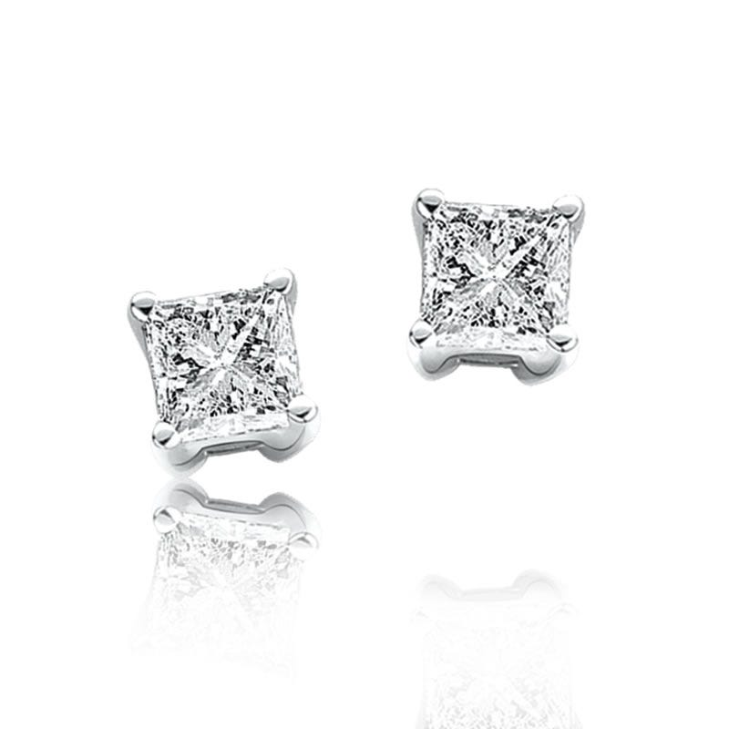 Princess-Cut Diamond Solitaire Stud Earrings 1/7ctw in 10kt White Gold