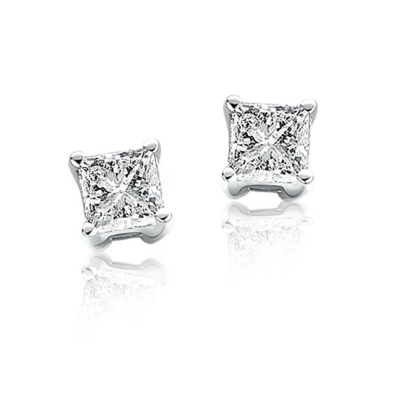 Princess-Cut Diamond Solitaire Earrings 3/4ctw.