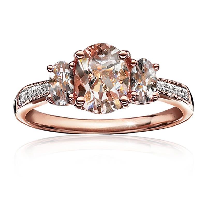 JK Crown® Three-Stone Morganite & Diamond Ring in 10k Rose Gold