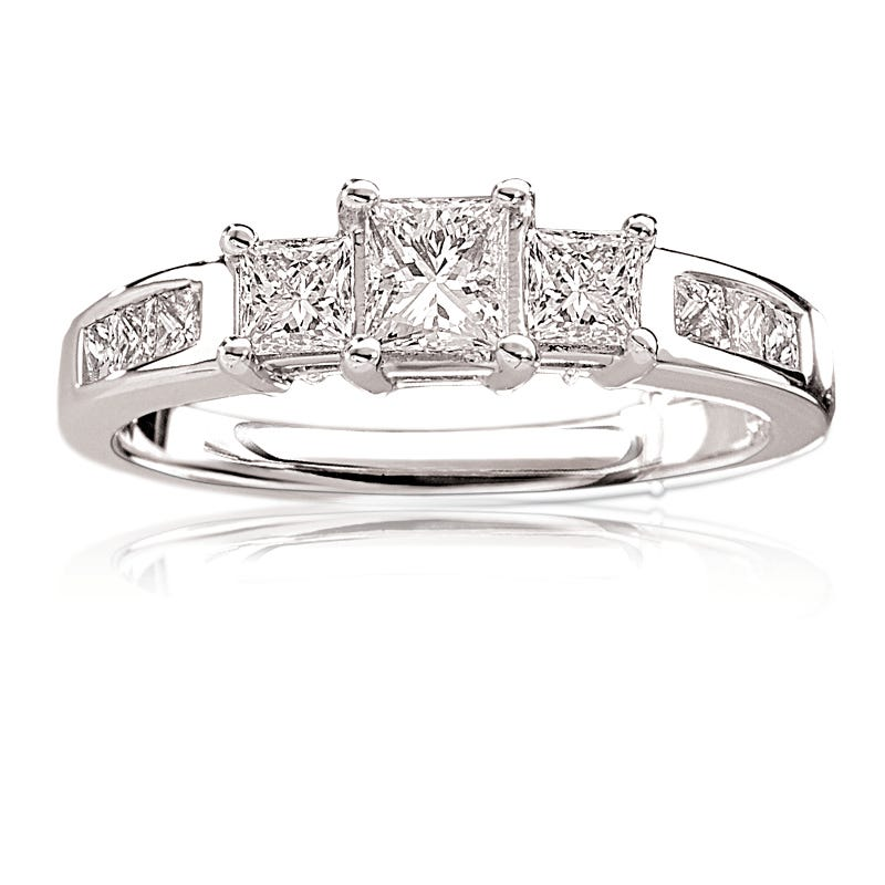 Eva. Diamond Princess-Cut Three-Stone 14K White Gold Engagement Ring