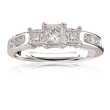 Eva. Princess-Cut Three-Stone Engagement Ring