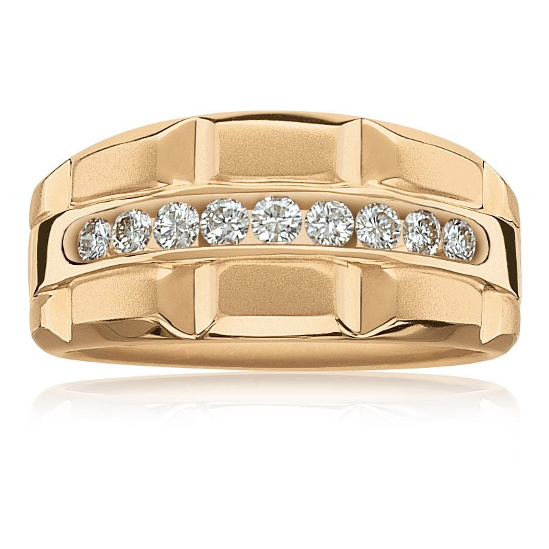 Men's Round 1/2ctw. Channel-Set Diamond Ring in 10k Yellow Gold