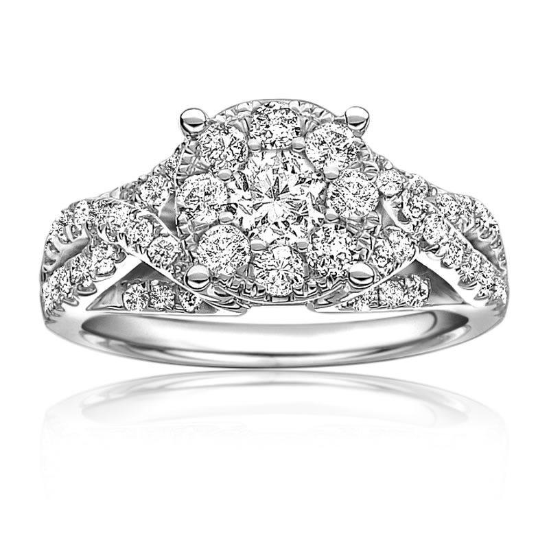 Serie 1 1/4ctw. Pavé Diamond Brilliant-Cut Twist Engagement Ring