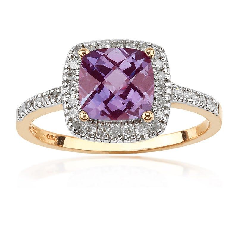 Created Alexandrite & Diamond Ring