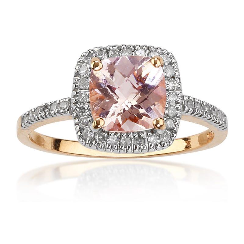 Morganite & Diamond Halo Ring in 10k Rose Gold