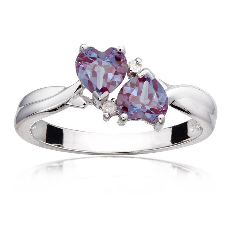 Double Heart Alexandrite & Diamond Ring