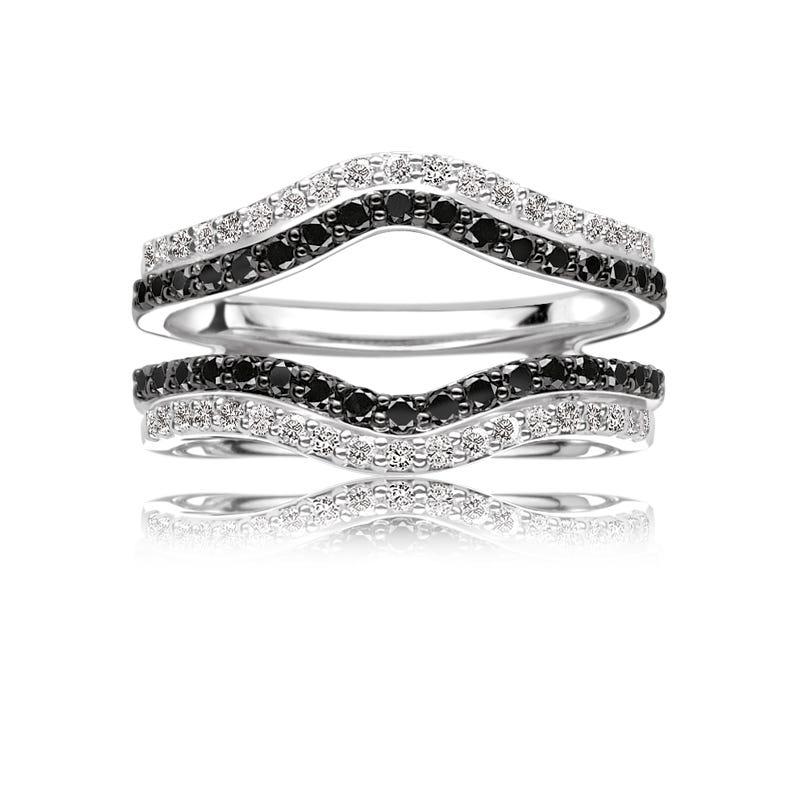 Black & White Diamond 5/8ct. Engagement Ring Insert Wrap in 14k White Gold