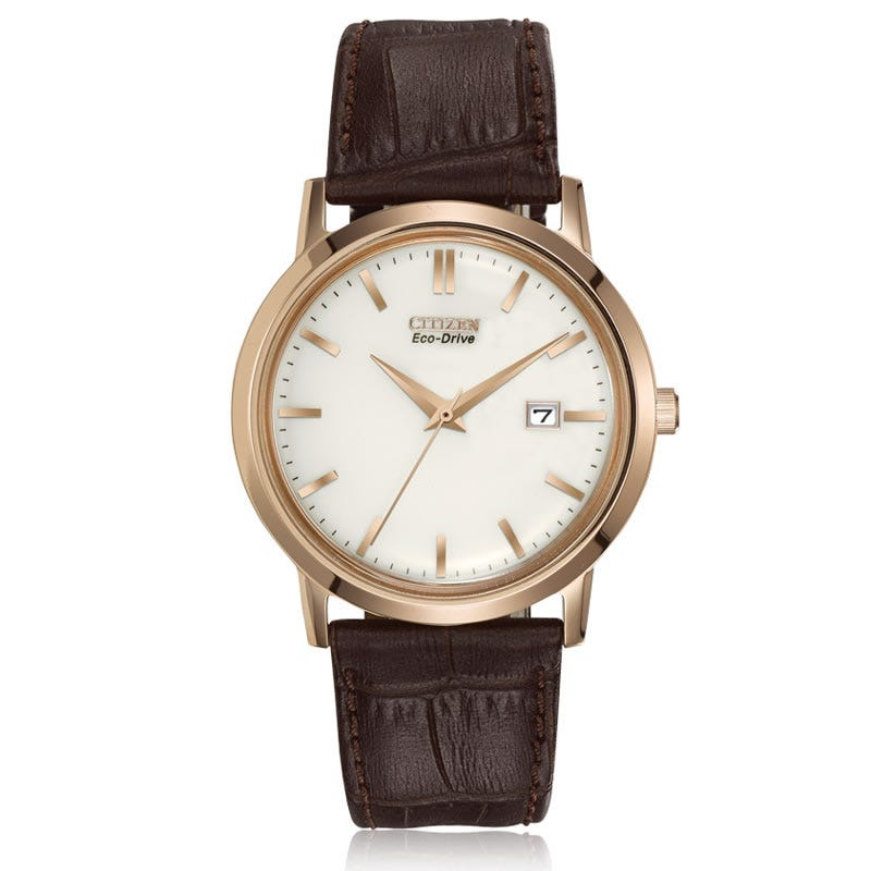 CITIZEN Eco-Drive Men's Strap Watch Rose Tone