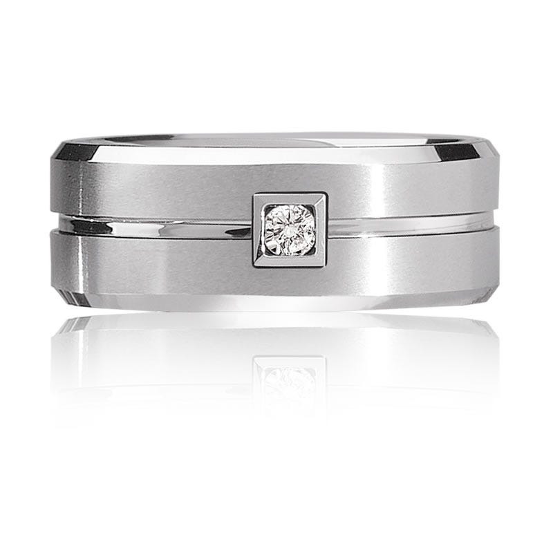 Triton Men's White Tungsten Diamond Band