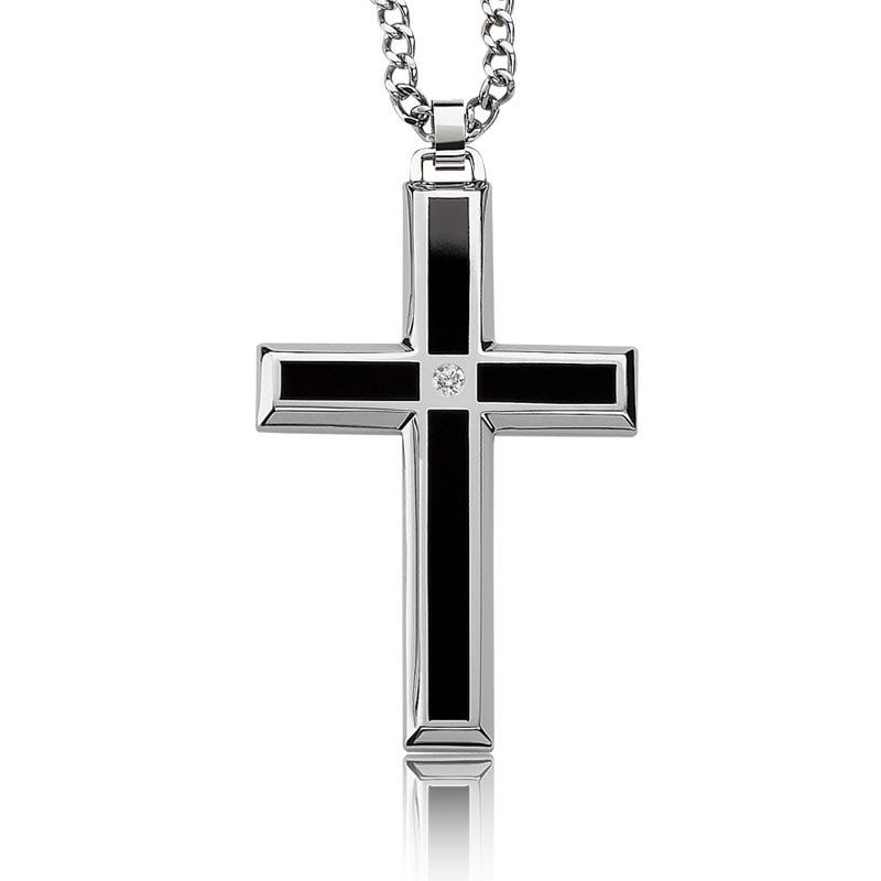 Men's Black Enamel & Diamond Cross Necklace in Stainless Steel