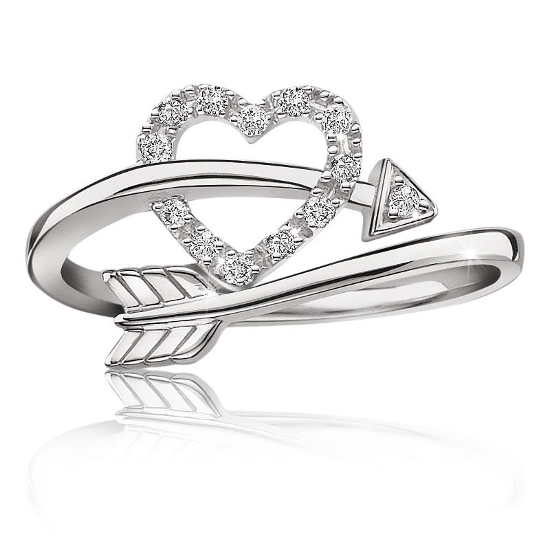 Diamond Heart & Arrow Ring in Sterling Silver