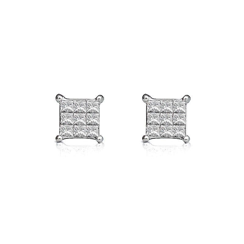 Diamond Princess-Cut Cluster 1/10ct. Stud Earrings in 10k White Gold
