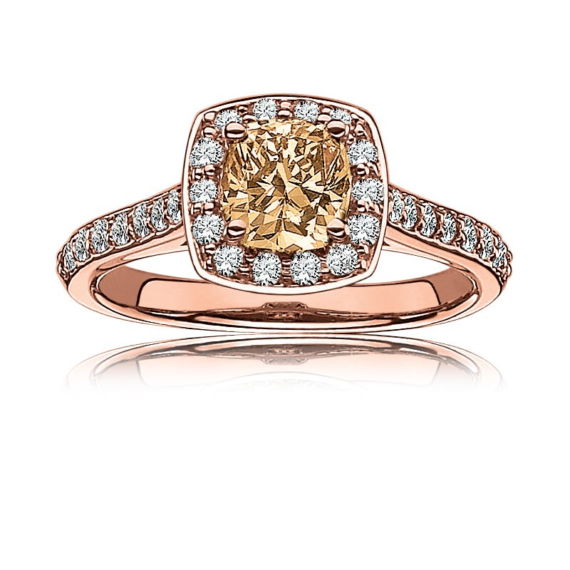 Cara. Champagne Pavé Diamond Halo Engagement Ring in 14k Rose Gold