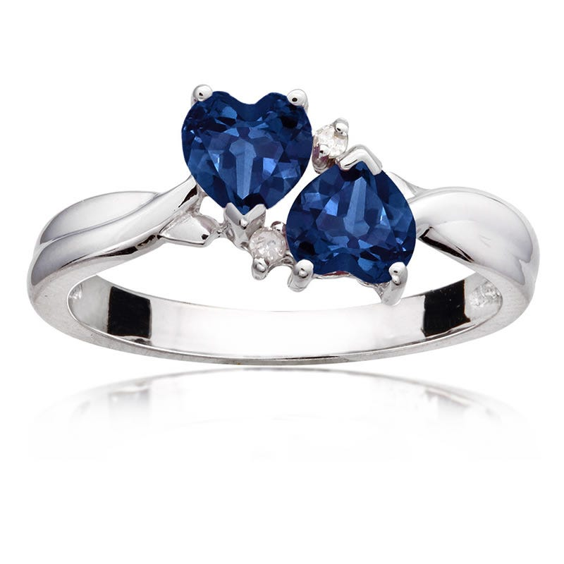 Double Heart Sapphire & Diamond Ring in Sterling Silver