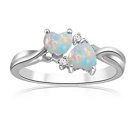 Double Heart Opal & Diamond Ring