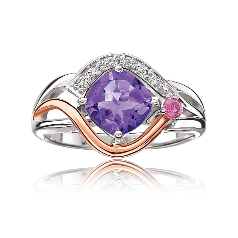Amethyst, Pink Tourmaline & Diamond Ring