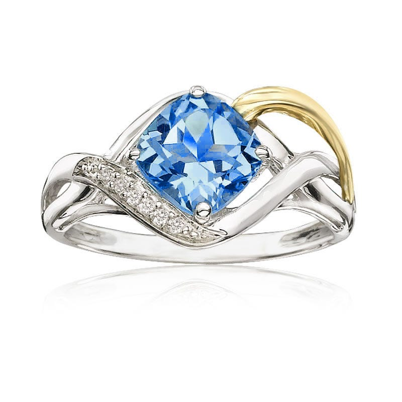 Blue Topaz & Diamond Ring in 10kt Yellow and Sterling Silver