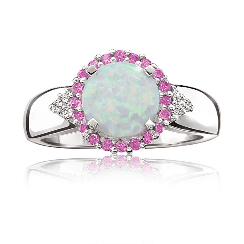 Created Opal & Created Pink Sapphire Halo Ring in Sterling Silver