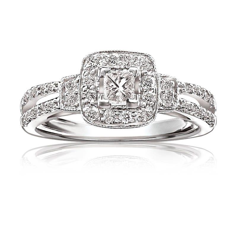 Maya. Princess-Cut Pavé Split-Shank Diamond Halo 1/2ctw. Engagement Ring