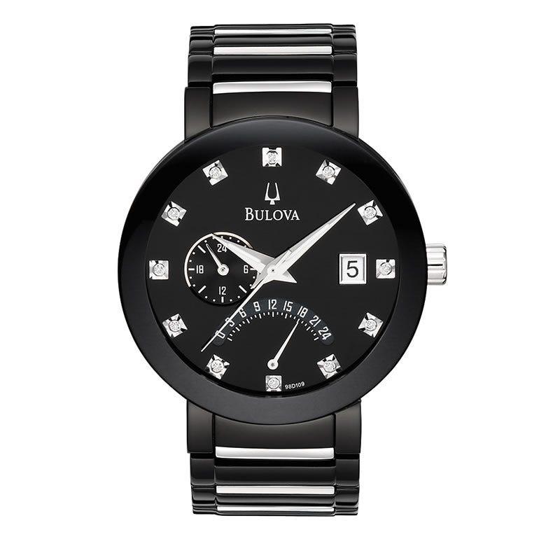 Bulova Men's Diamond Black Stainless Steel Bracelet Watch