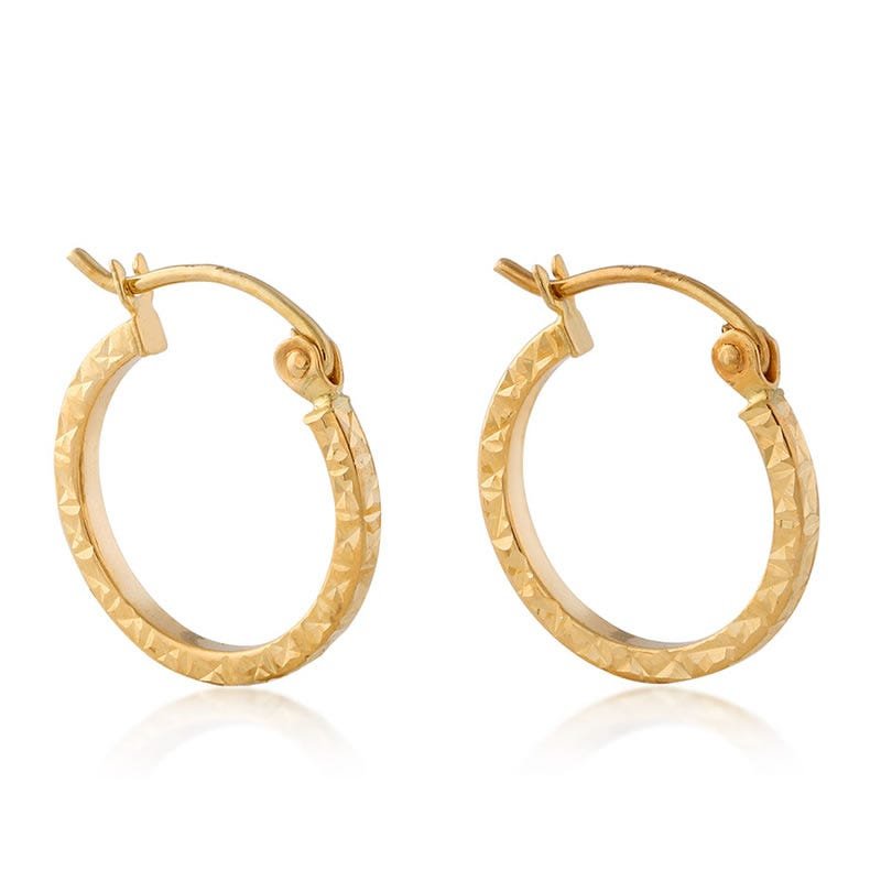 Flat Hammered Hoop Earrings