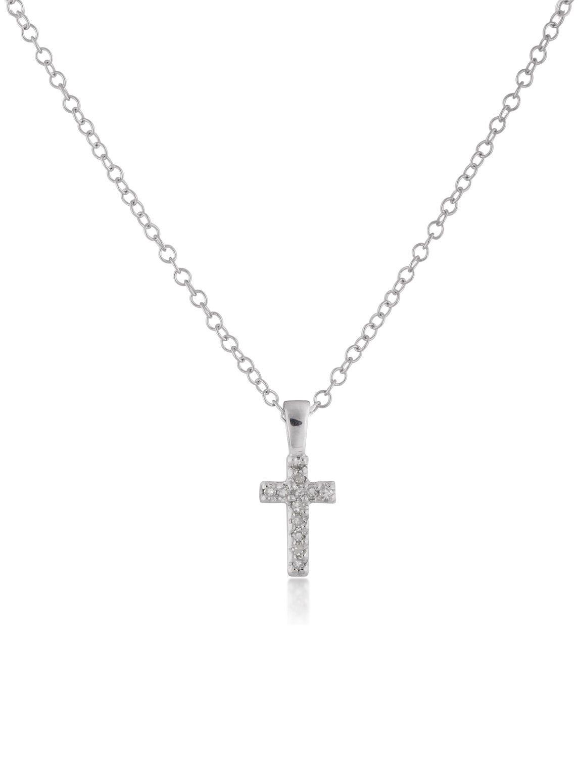 Diamond Cross Pendant Children's Necklace in Sterling Silver 15