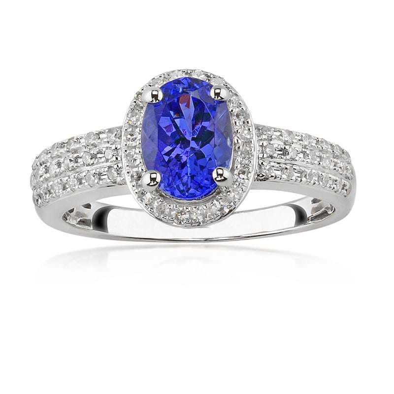 Tanzanite Gemstone & Diamond 10K White Gold Ring