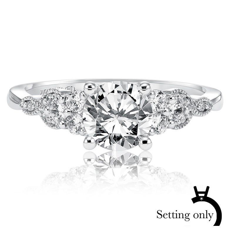 Adeline. ArtCarved Vintage Inspired Diamond Semi-Mount 14k White Gold