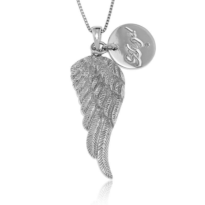 Angel Wing with Diamond Accent Disc Pendant in Sterling Silver