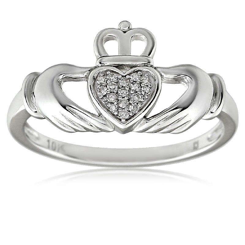 Diamond Irish Claddagh Ring in 10K White Gold