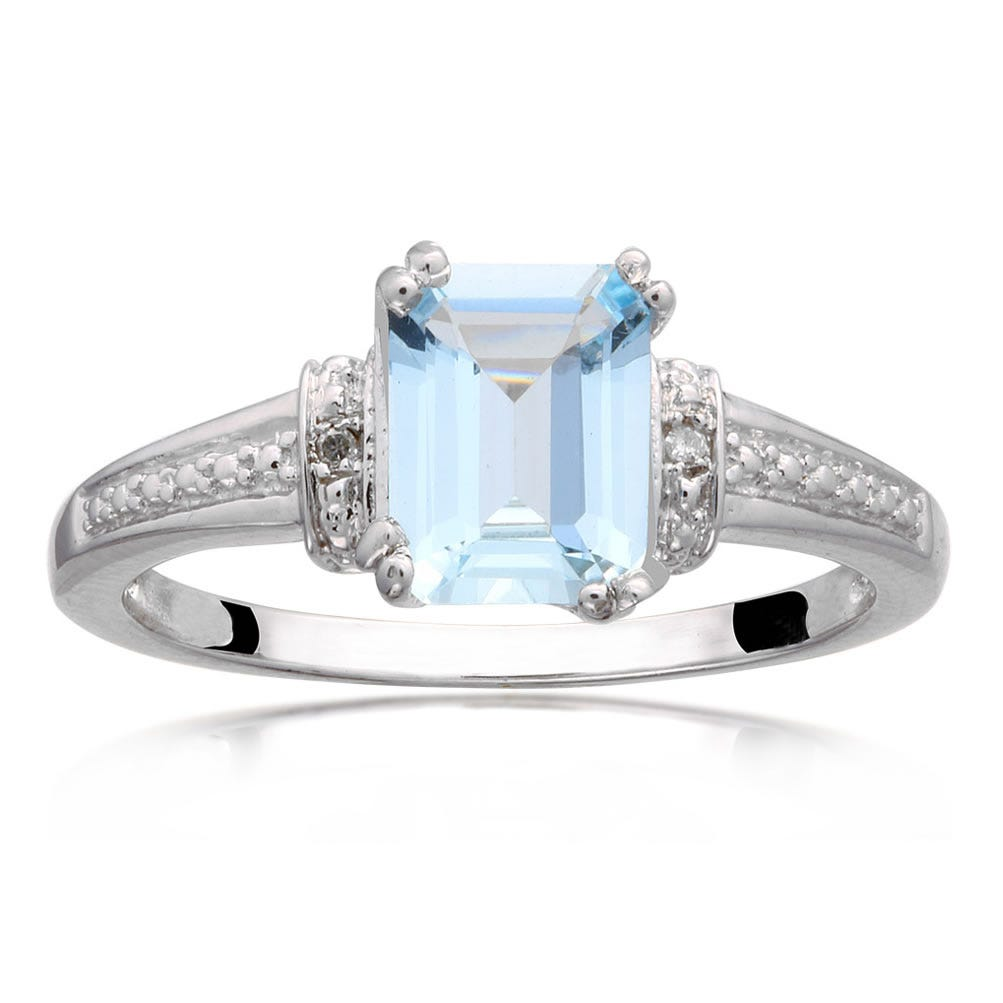 Aquamarine Emerald-Cut Gemstone & Diamond Ring in Sterling Silver