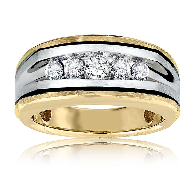 Men's 1/2ct. Diamond Wedding Band in 10k White & Yellow Gold