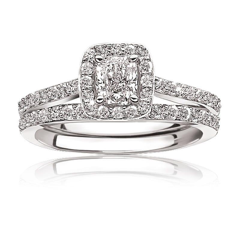 Roxi. Diamond Pavé ¾ctw. Cushion-Cut Halo Engagement Ring 14k White Gold