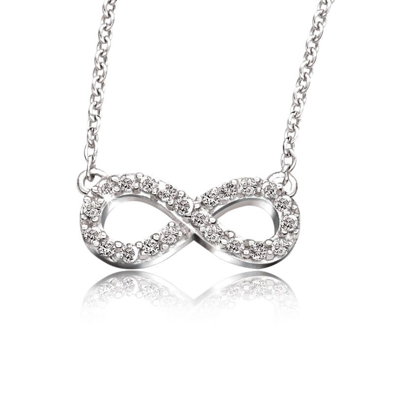 Diamond Infinity Necklace in Sterling Silver (H/I-I2)