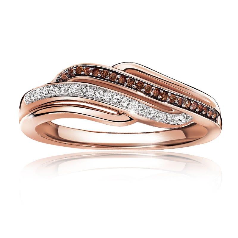 Genuine Cognac & White Diamond Gold Wave Ring