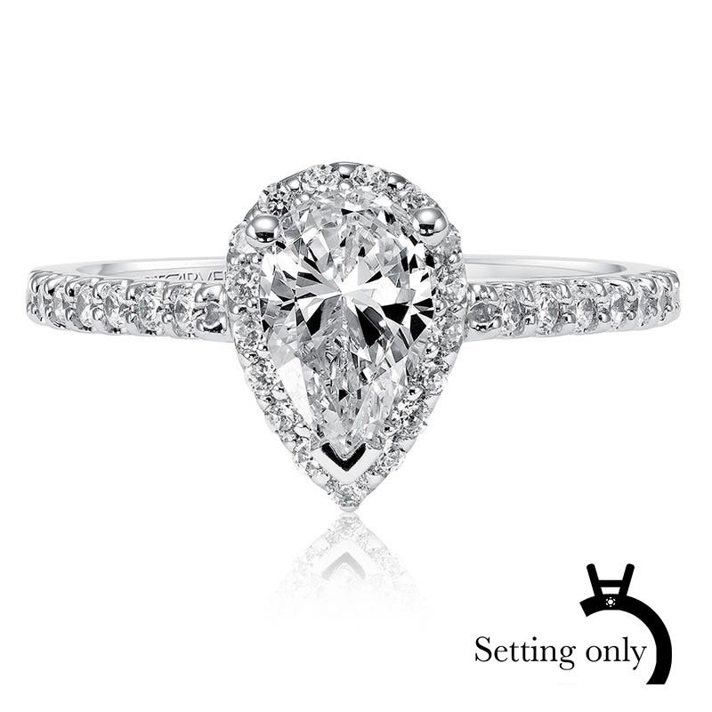 Layla. ArtCarved Pear Shape Diamond Pave Semi-Mount 14k White Gold
