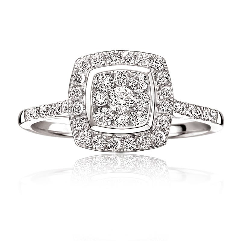 Brilliant-Cut Diamond Cluster Cushion Ring 1/2ct. T.W.