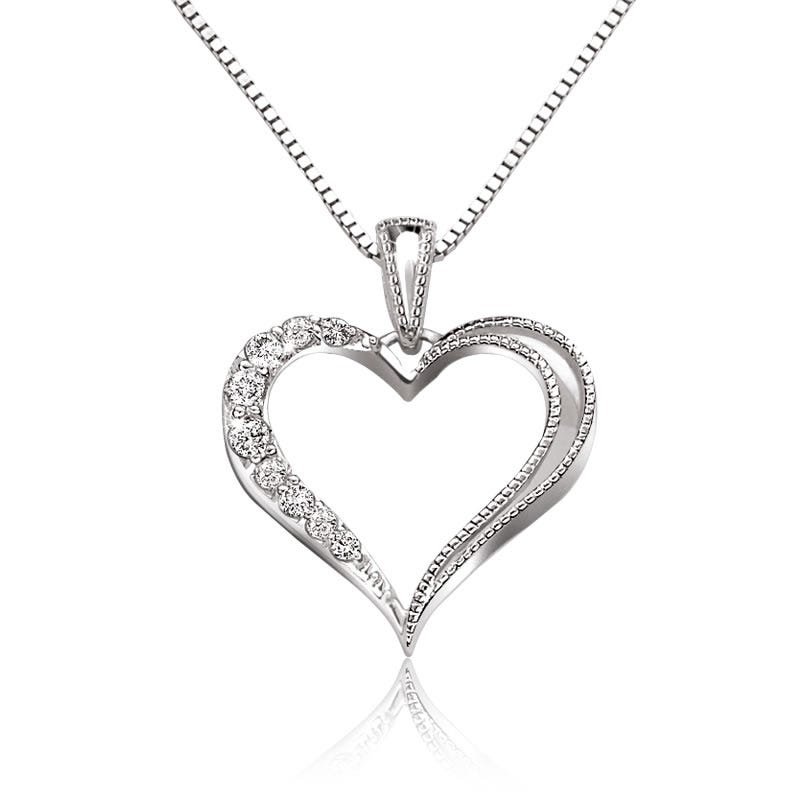 Diamond Half Diamond Heart Pendant in Sterling Silver