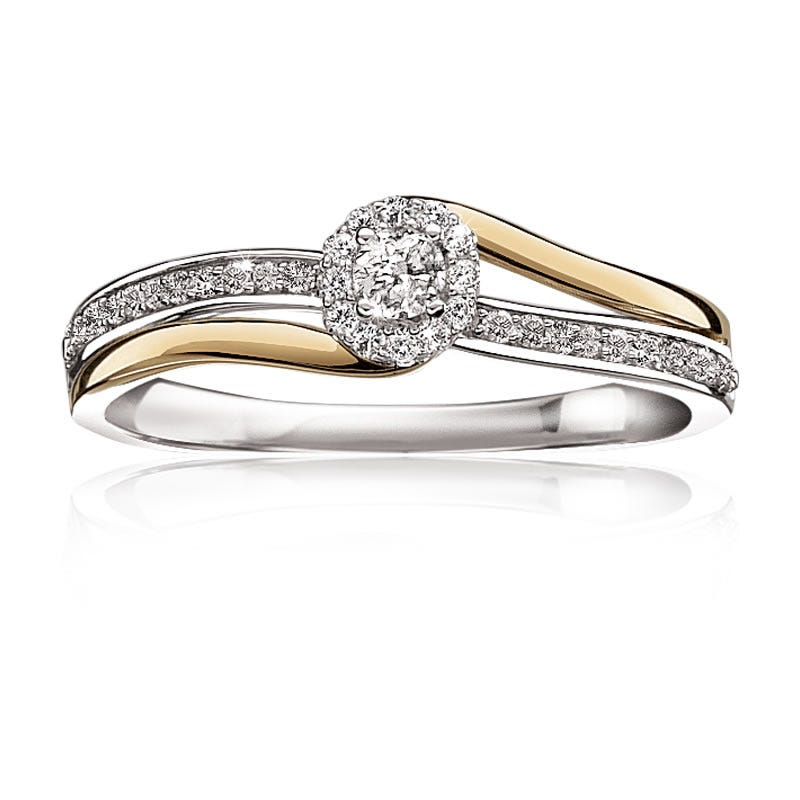 Diamond Halo Bypass Promise Ring ¼ctw. in Yellow & White Gold