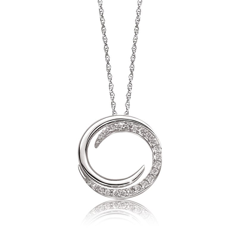 Diamond Bypass Circle Pendant in 10k White Gold