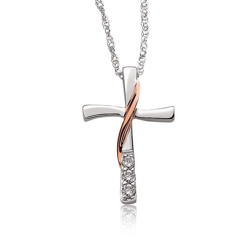 Diamond Cross Pendant in 10k White & Rose Gold